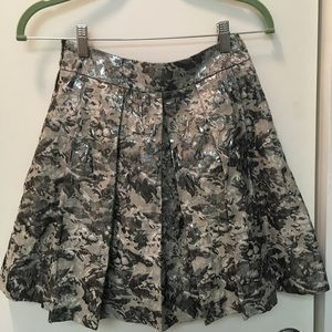 metallic floral a line skirt sz small